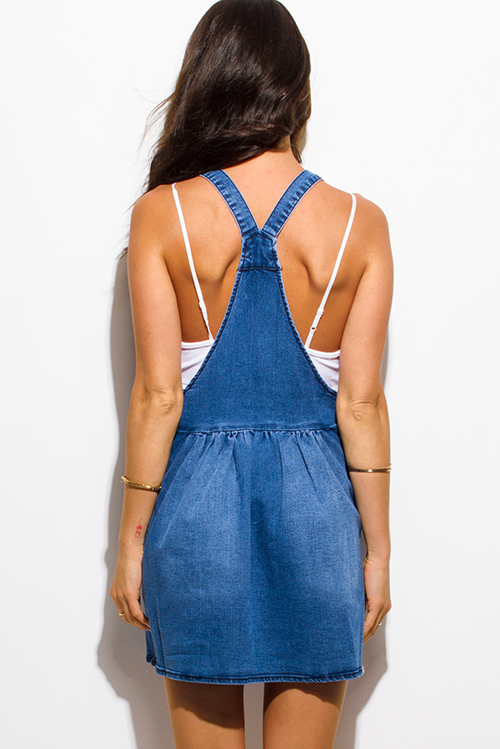 Cute cheap blue washed denim pocketed overall jean skirt mini dress