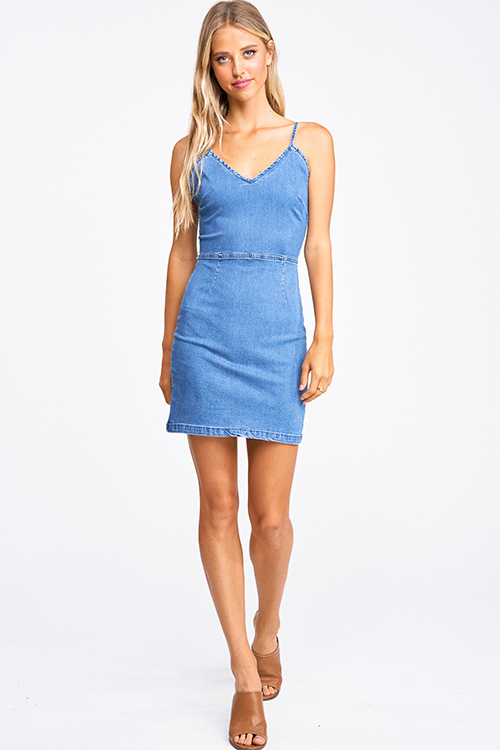 Cute cheap Blue washed denim sleeveless laceup caged back bodycon fitted mini dress
