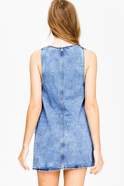 Cute cheap blue washed denim sleeveless pocketed boho apron overall jean dress