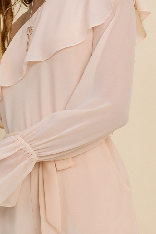 Cute cheap Blush peach chiffon ruffled one shoulder long bell sleeve evening romper jumpsuit