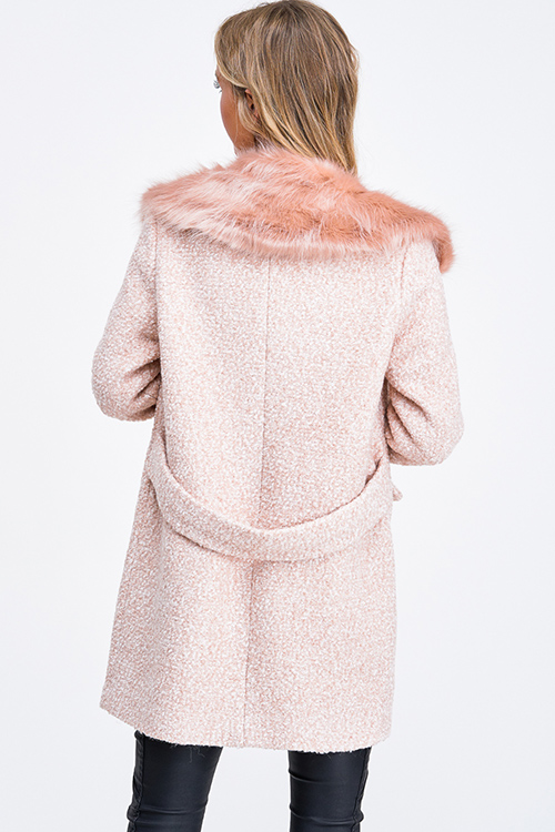 Cute cheap Blush pink boucle tweed button up faux fur collar boho peacoat jacket
