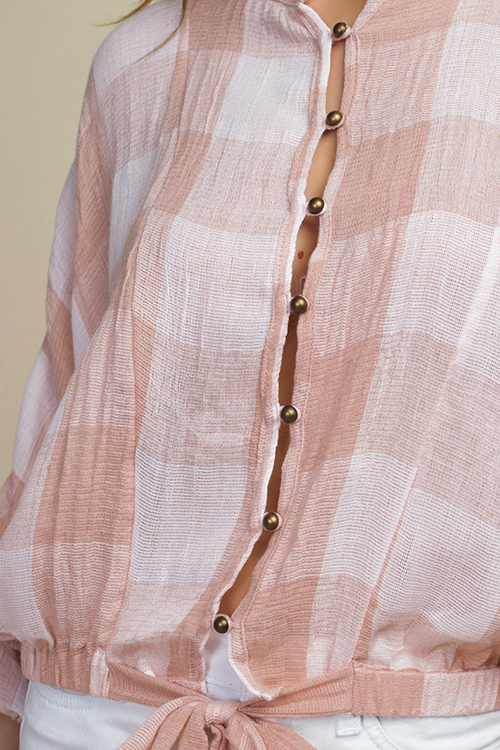 Cute cheap Blush pink buffalo check long dolman sleeve tie front boho button up blouse top