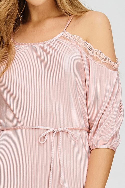 Cute cheap blush pink cold shoulder tie waist micro pleat lace trim pencil fitted party midi dress