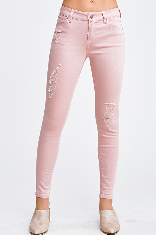 Cute cheap Blush pink denim mid rise distressed cuffed boho fitted skinny jeans