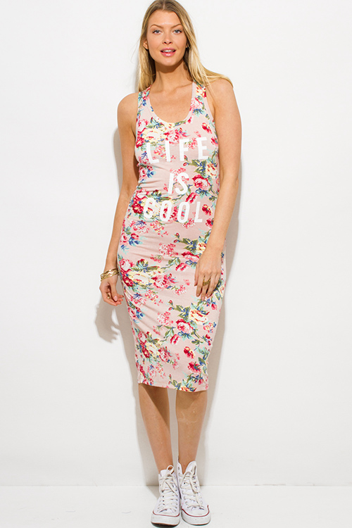 Cute cheap blush pink floral print jersey graphic print sleeveless racer back bodycon fitted midi dress