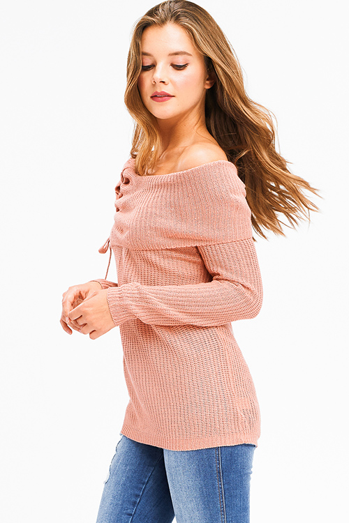 Cute cheap blush pink knit laceup off shoulder long sleeve boho sweater top