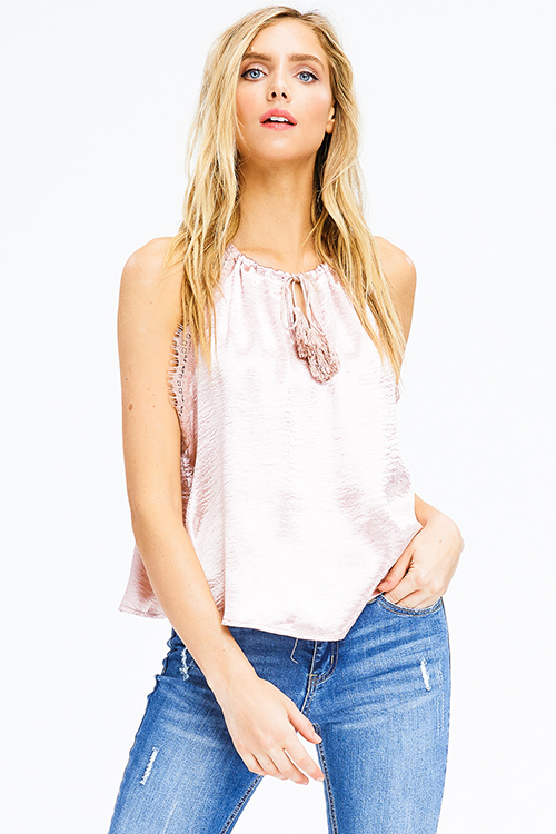 Cute cheap blush pink satin lace trim halter tassel tie racer back boho party tank top
