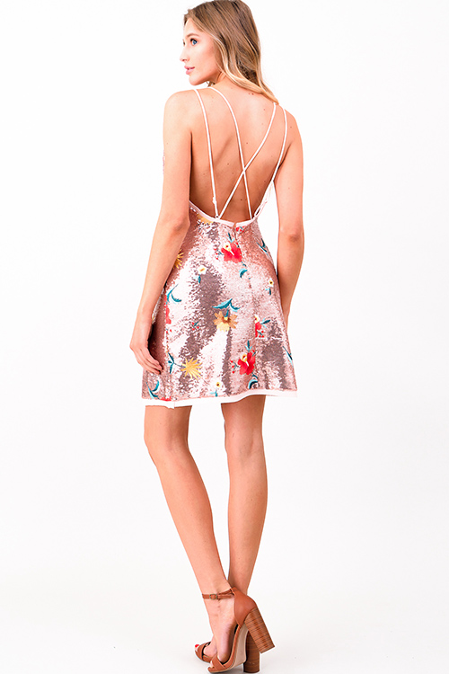 Cute cheap Blush pink sleeveless sequined floral embroidered cut out backless club party mini dress