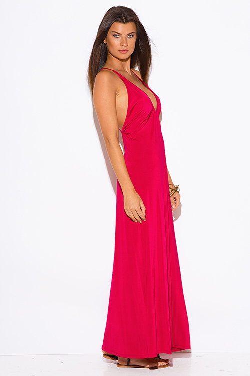 Cute cheap bold red deep v neck criss cross backless formal evening party maxi dress