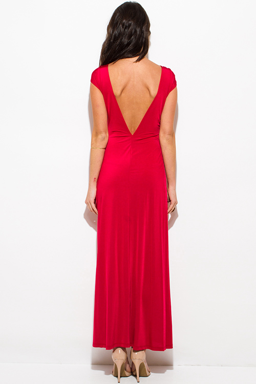 Cute cheap red deep v neck knot high slit formal cocktail party evening maxi dress