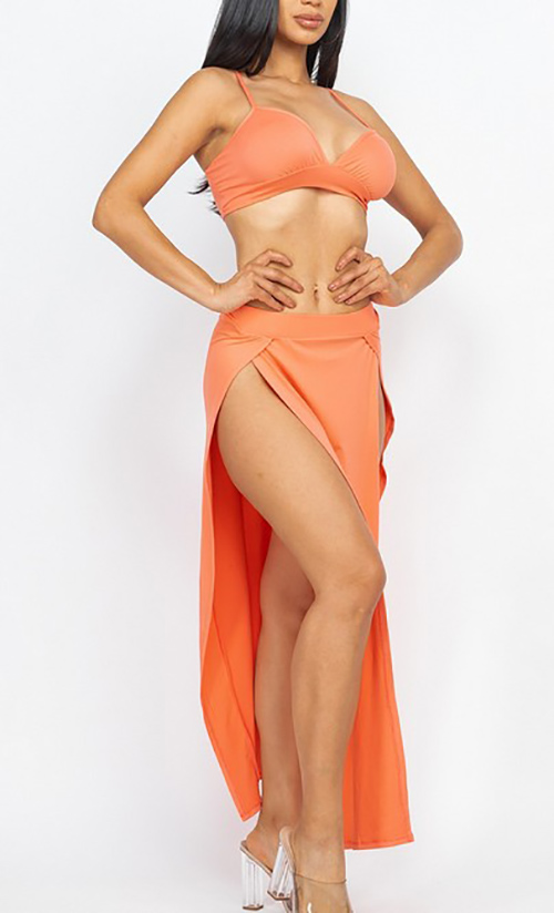 Cute cheap bra top & side slit maxi skirt set