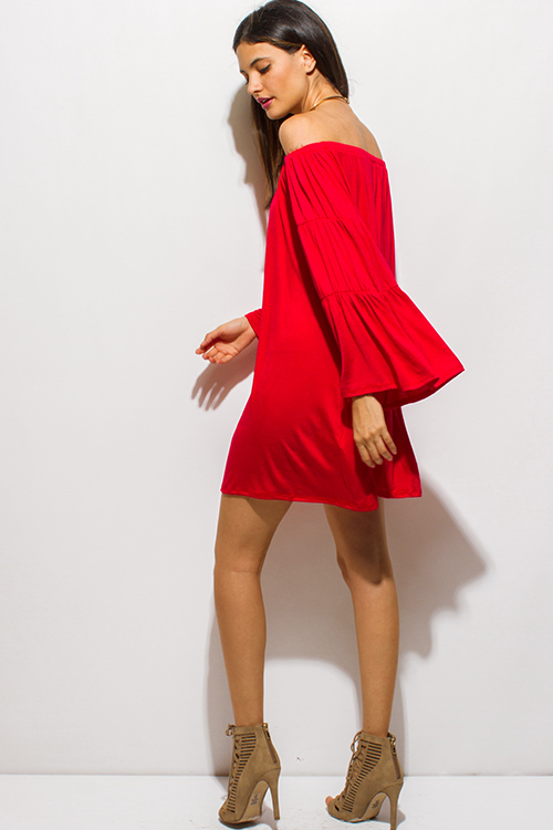 Cute cheap bright red rayon jersey off shoulder long bell sleeve boho tiered mini dress