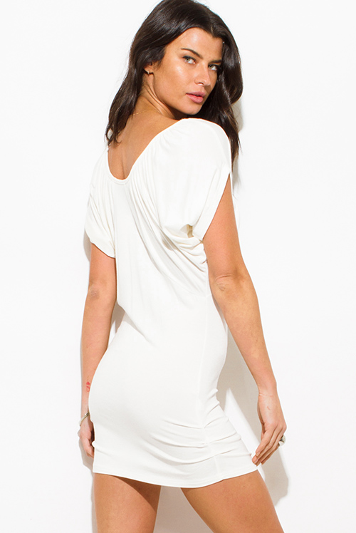Cute cheap white drape dolman sleeve belted off shoulder fitted club mini dress