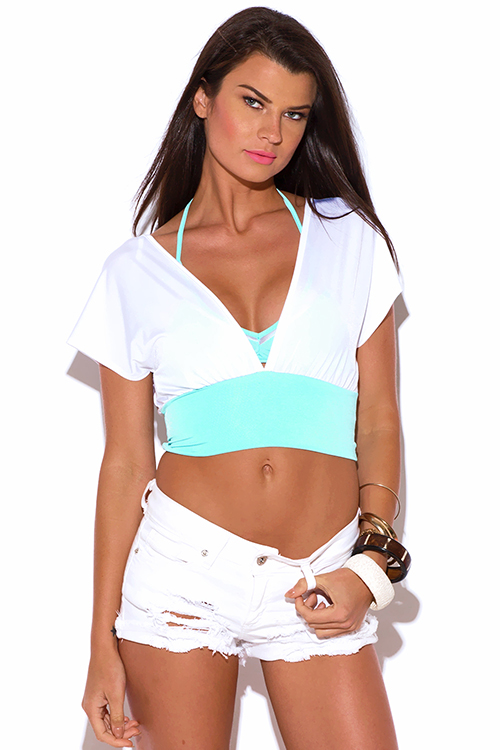 Cute cheap white mint blue deep v neck kimono party crop top