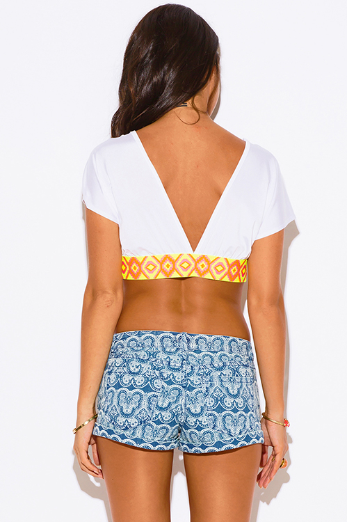 Cute cheap white deep v neck neon print kimono sleeve backless party crop top