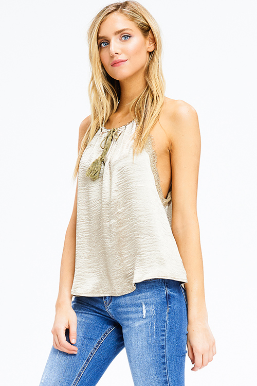 Cute cheap bronze gold satin lace trim halter tassel tie racer back boho party tank top