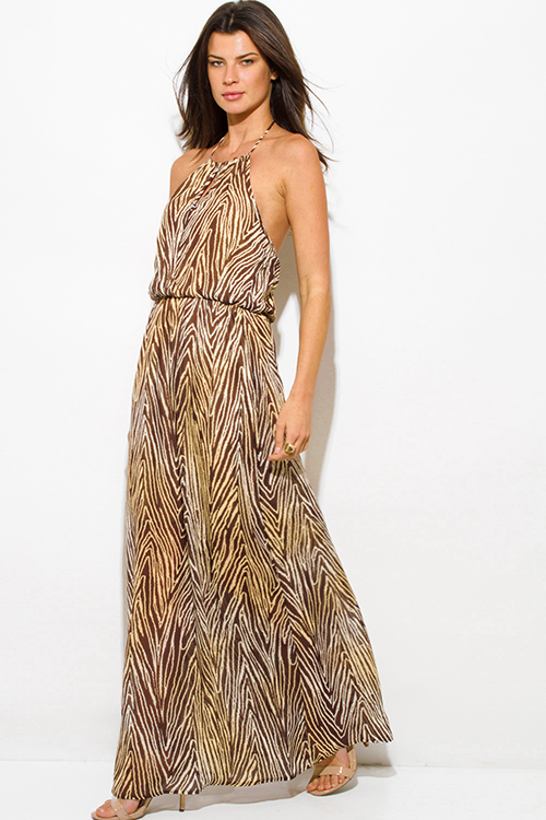 Cute cheap brown abstract animal print chiffon keyhole halter neck backless evening maxi sun dress