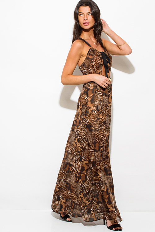 Cute cheap brown abstract animal print cut out halter cross back maxi sun dress