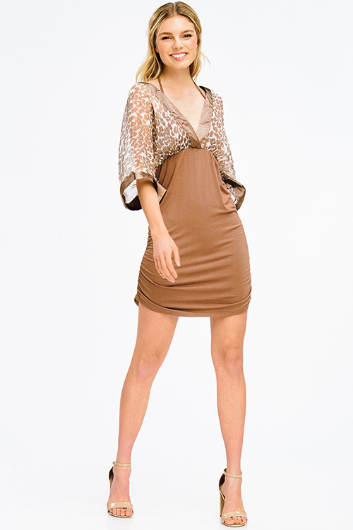 Cute cheap brown cheetah print sheer chiffon halter dolman kimono sleeve ruched club mini dress