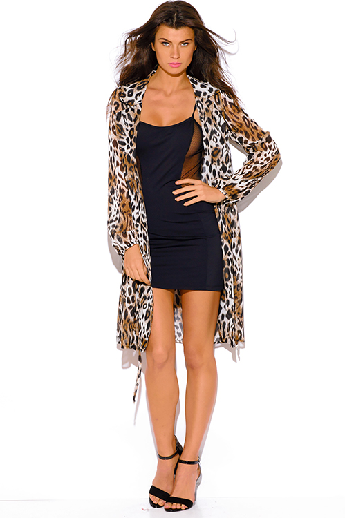 Cute cheap brown leopard animal print chiffon blouson sleeve semi sheer double breasted trench coat dress