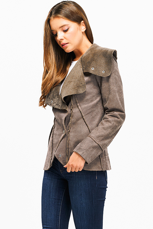 Cute cheap Brown long sleeve faux suede fleece faux fur lined button up coat jacket