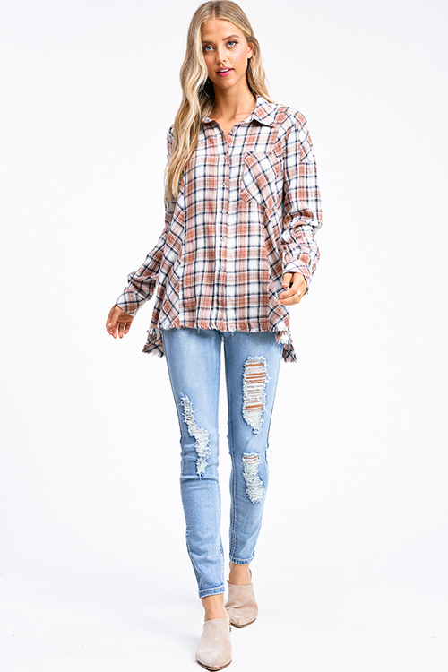 Cute cheap Brown plaid print flannel long sleeve frayed hem button up blouse tunic top