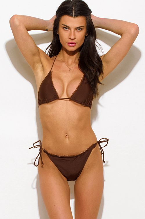 Cute cheap brown ruffle trim halter tie side tie triangle bikini swimsuit set