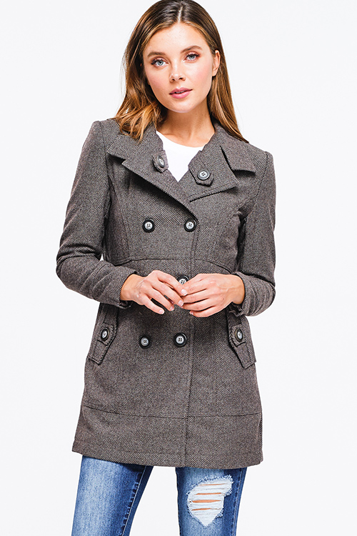 Cute cheap brown striped tweed long sleeve double breasted button up fitted peacoat jacket