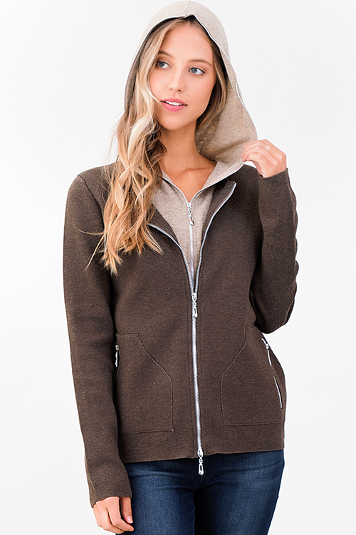 Cute cheap brown taupe beige knit layered double zipper hooded pocketed jacket top