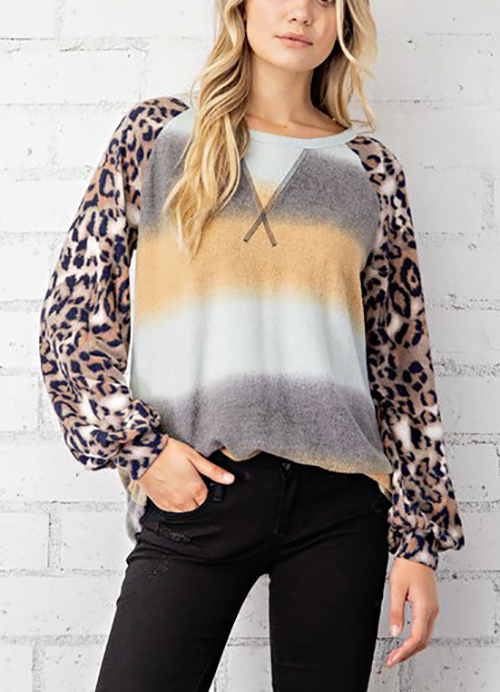 Cute cheap brushed terry multi color stripe toppwith leopard print