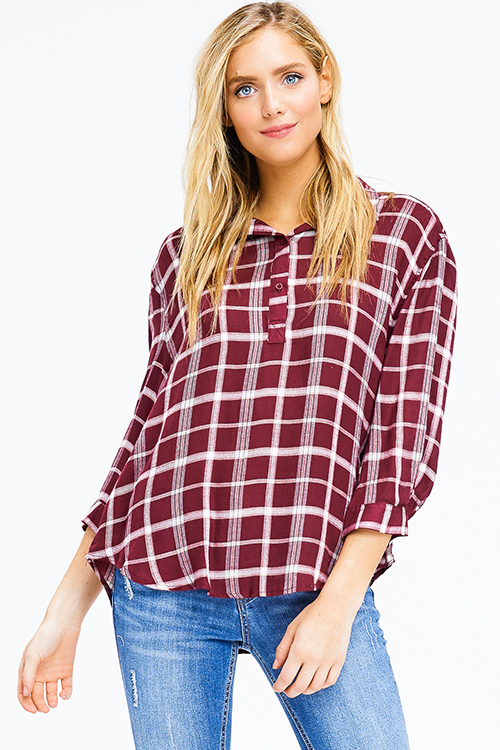 Cute cheap burgundy red checker plaid long sleeve button up boho blouse top