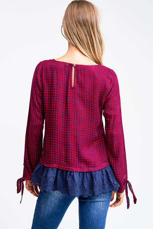 Cute cheap Burgundy red checker plaid long tie sleeve crochet lace ruffle hem boho blouse top