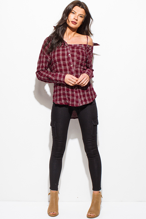 Cute cheap burgundy red crinkle cotton checker plaid print off shoulder long sleeve button up blouse top