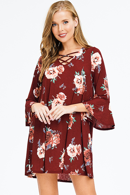 Cute cheap burgundy red floral print quarter bell sleeve criss cross caged front boho shift mini dress
