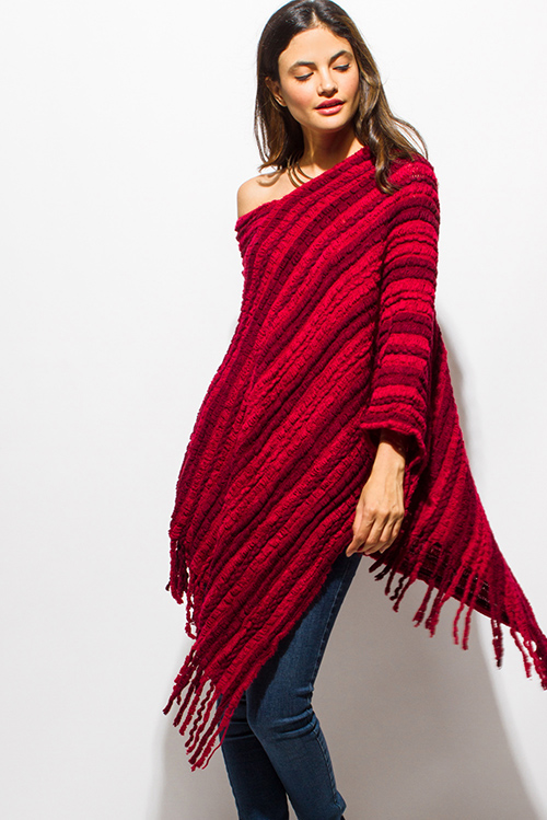 Cute cheap burgundy red fuzzy knit striped asymmetrical hem boho sweater knit poncho top