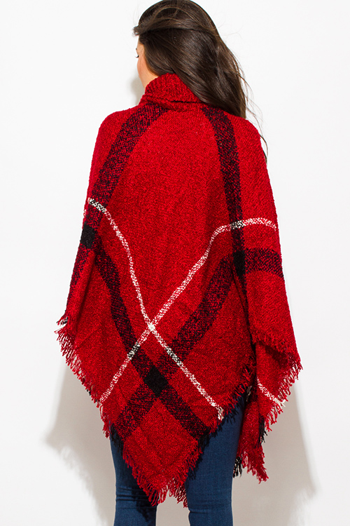Cute cheap burgundy red giant checker plaid fuzzy boho knit poncho sweater jacket tunic top