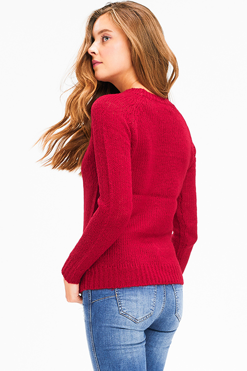 Cute cheap Wine burgundy red knit round neck long sleeve sweater top