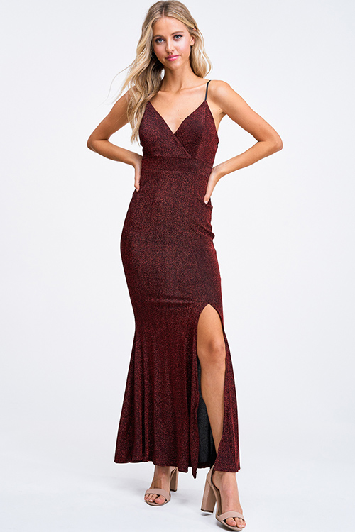 Cute cheap Burgundy red metallic sweetheart sleeveless slit fitted mermaid evening maxi dress