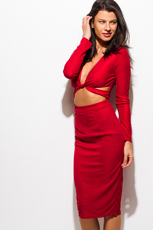 Cute cheap burgundy red metallic deep v neck long sleeve cut out bodycon fitted pencil club midi dress