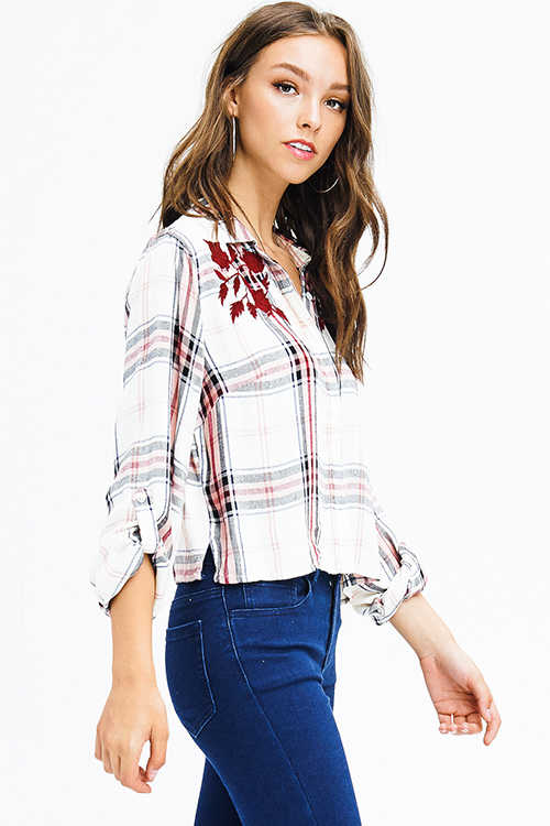 Cute cheap burgundy red plaid print floral embroidered long sleeve crop blouse top