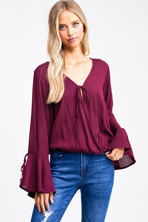 Cute cheap Burgundy red rayon gauze long trumpet bell sleeve faux wrap tie front boho blouse top
