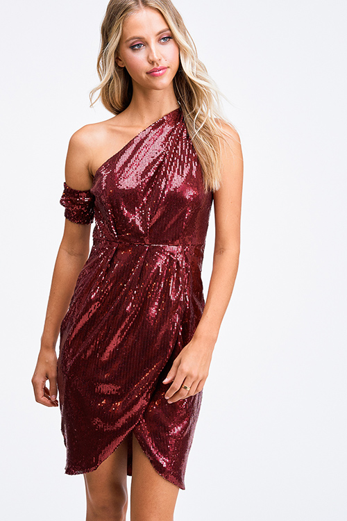 Cute cheap Burgundy red sequin one shoulder faux wrap evening cocktail party tulip mini dress