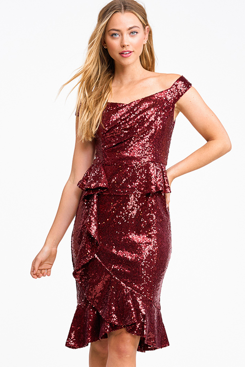 Cute cheap Burgundy red sequin off shoulder peplum ruffled pencil fitted cocktail party midi dress