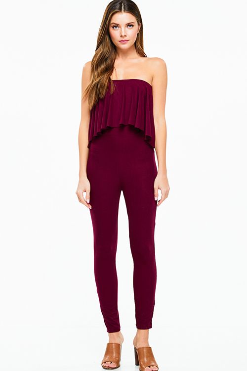 Cute cheap Burgundy red strapless ruffle tiered bodycon fitted club evening catsuit jumpsuit