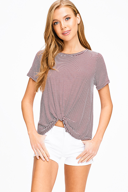 Cute cheap Burgundy red striped short sleeve twist knotted front boho tee shirt top