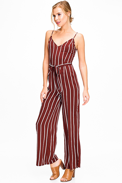 Cute cheap Burgundy red striped sleeveless v neck high waisted belted wide leg boho jumpsuit