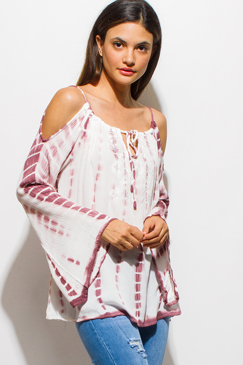 Cute cheap burgundy taupe red tie dye embroidered bell sleeve cold shoulder boho peasant top