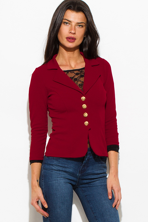 Cute cheap burgundy wine red golden button quarter sleeve fitted blazer jacket top