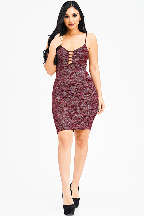 Cute cheap burgundy wine red metallic shimmer cut out caged sleeveless bodycon fitted club mini dress