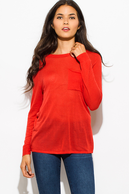 Cute cheap burnt coral orange front pocket long sleeve sweater knit top